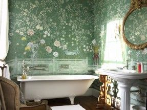 Perdele si tapet De Gournay – Temple Newsam Custom Blue Green Williamsburg with Matt Glaze