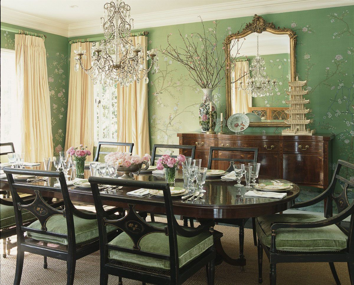 Perdele si tapet De Gournay - Earlham standard on Emerald Green dyed silk
