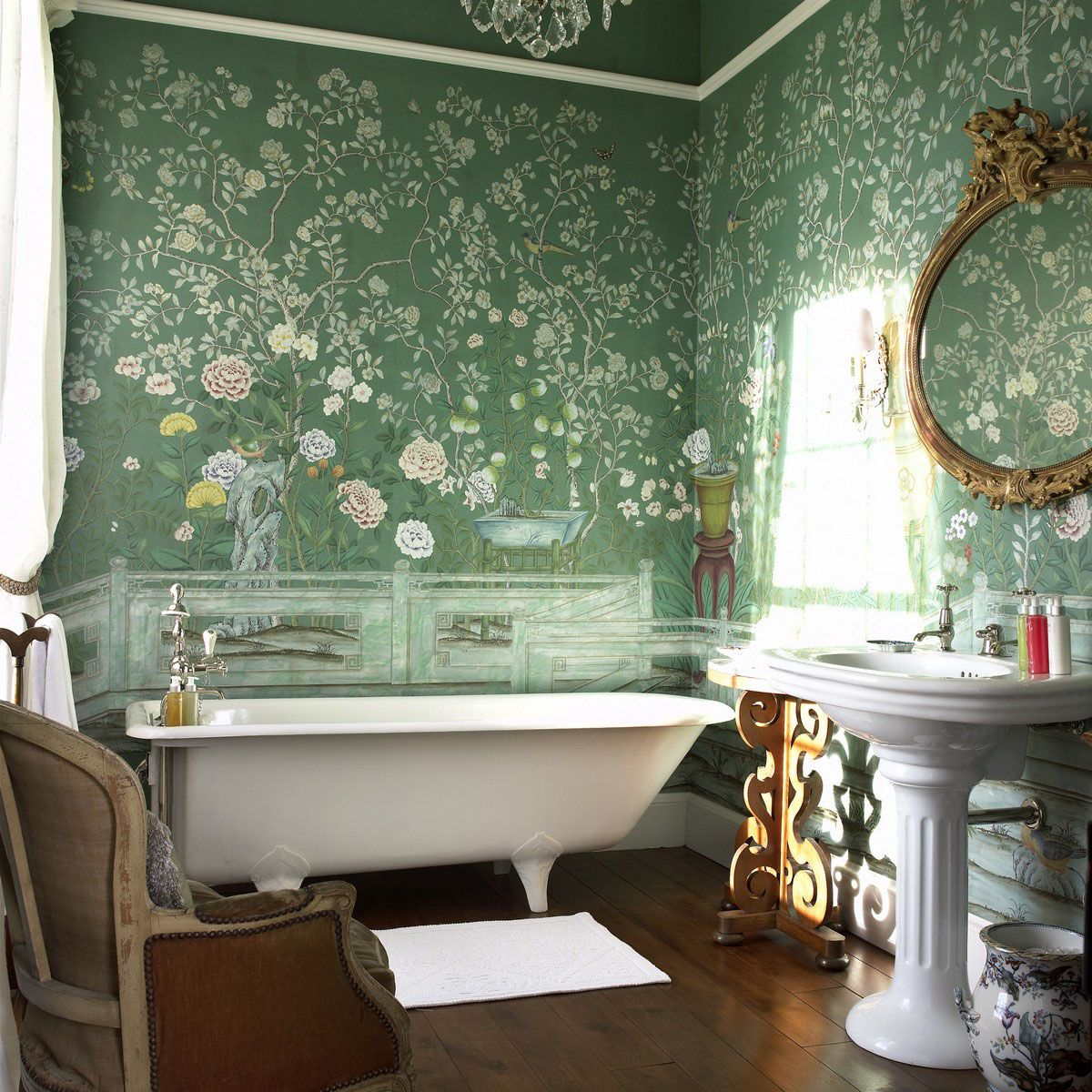 Perdele si tapet De Gournay - Temple Newsam Custom Blue Green Williamsburg with Matt Glaze