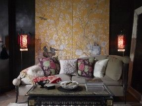 Perdele si tapet De Gournay – Temple Newsam Full Custom Monochromatic Tang Yellow williamsburg Antique Stained