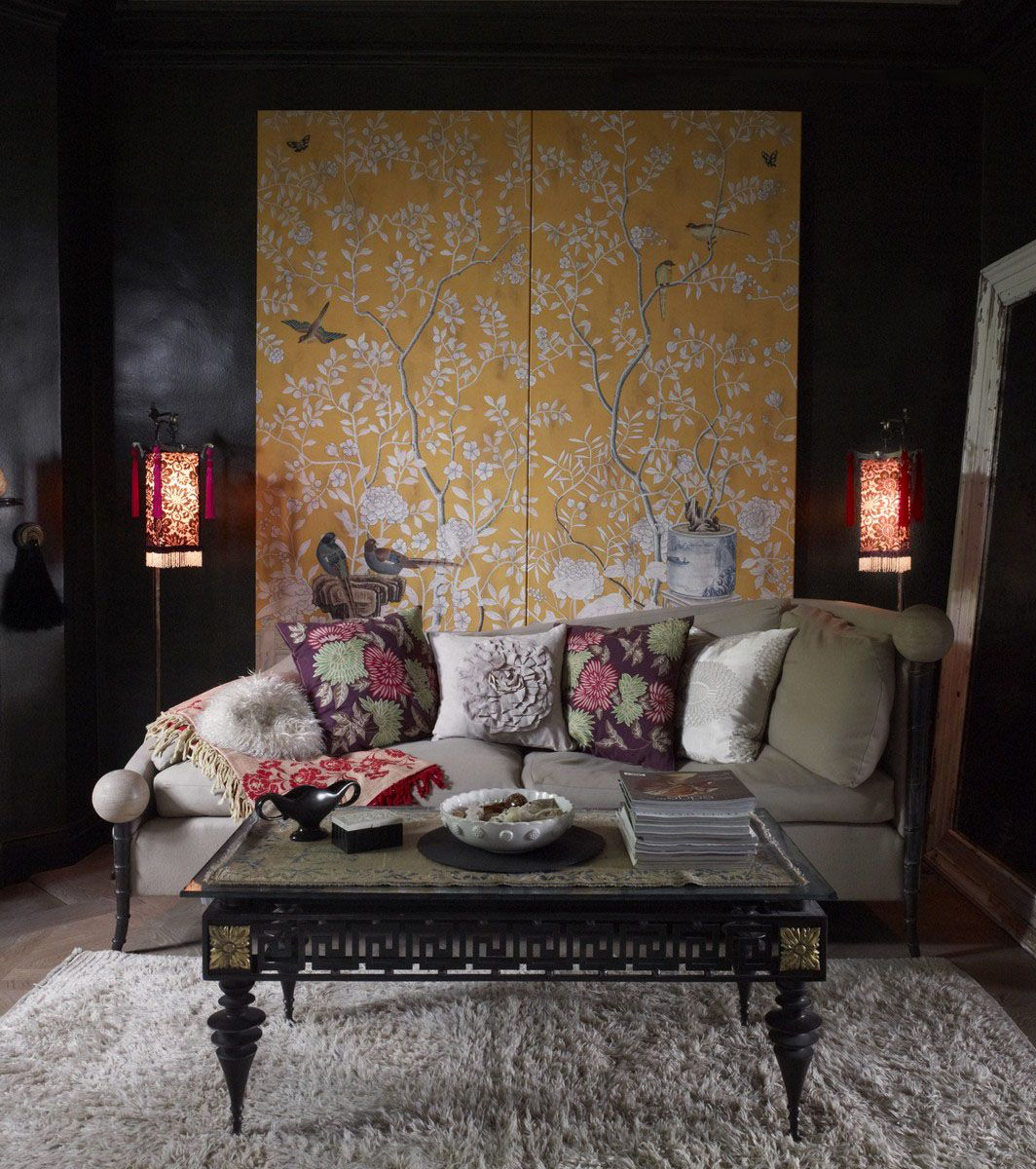 Perdele si tapet De Gournay - Temple Newsam Full Custom Monochromatic Tang Yellow williamsburg Antique Stained