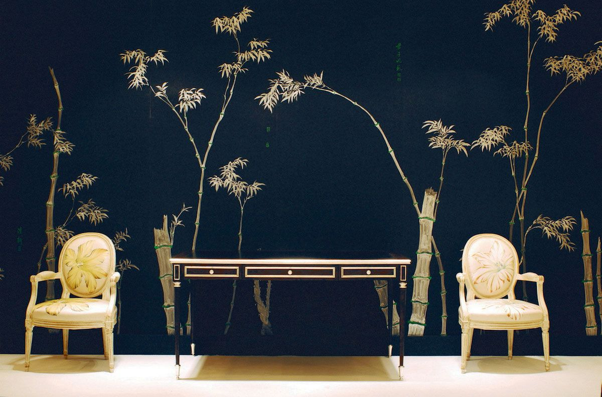 Perdele si tapet De Gournay - Bamboo design on black painted silk