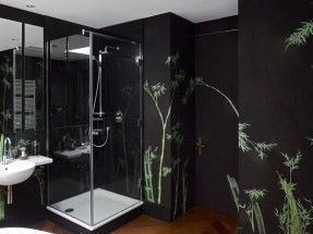 Perdele si tapet De Gournay – Bamboo on Pitch Painted Silk