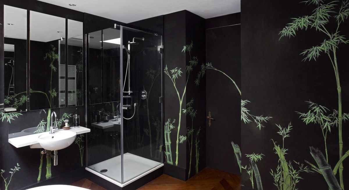 Perdele si tapet De Gournay - Bamboo on Pitch Painted Silk