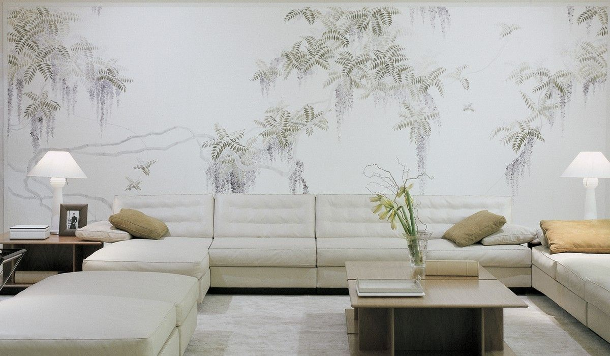 Perdele si tapet De Gournay - Wisteria on Lilac Mica Metallic Xuan Paper