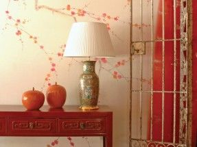 Mobilier De Gournay – Plum Blossom on Bleached Silver Twill