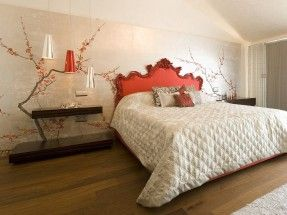 Perdele si tapet De Gournay – Plum Blossom on Tarnished Silver