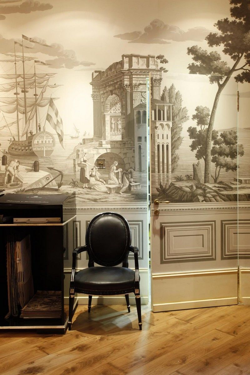 Perdele si tapet De Gournay - Moscow showroon - Views of Italy - Elle Decoration Russia