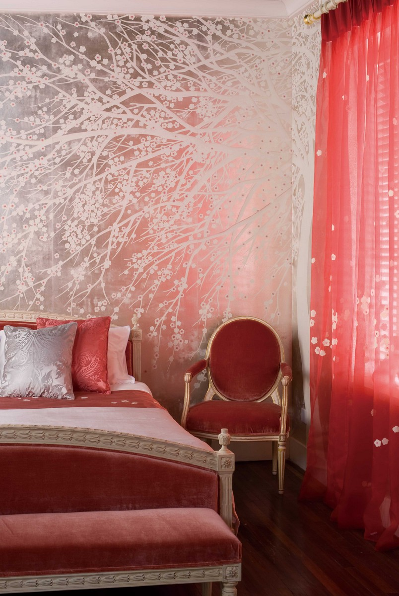 Perdele si tapet De Gournay - windblossom