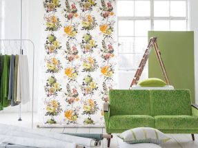 Designers Guild curtains and wallpaper