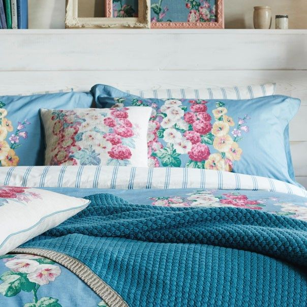 sanderson hollyhocks bed linen